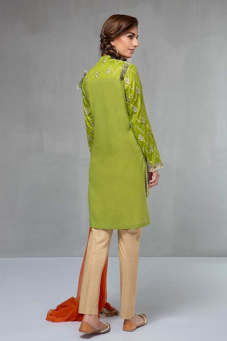 083c3eae45 Silk embroidered green stitched dress by Maria B ready to wear eid ...